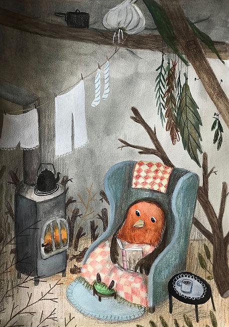 Rødhals_ved_brændeovn_illustration_sep