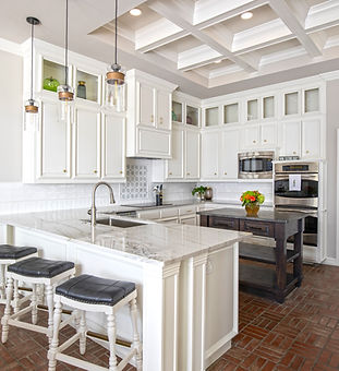 kitchen remodel white cabinets brick floor cove ceiling custom