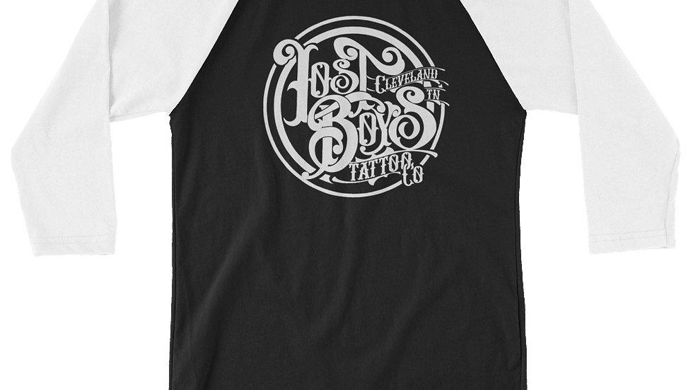 White LB Logo 3/4 sleeve raglan shirt