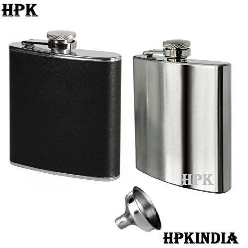 Super Sleek Black And Silver Steel Hip Flask with refilling funnel