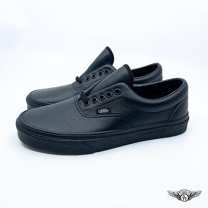 Vans Era Triple Black Leather/ Gum bottoms