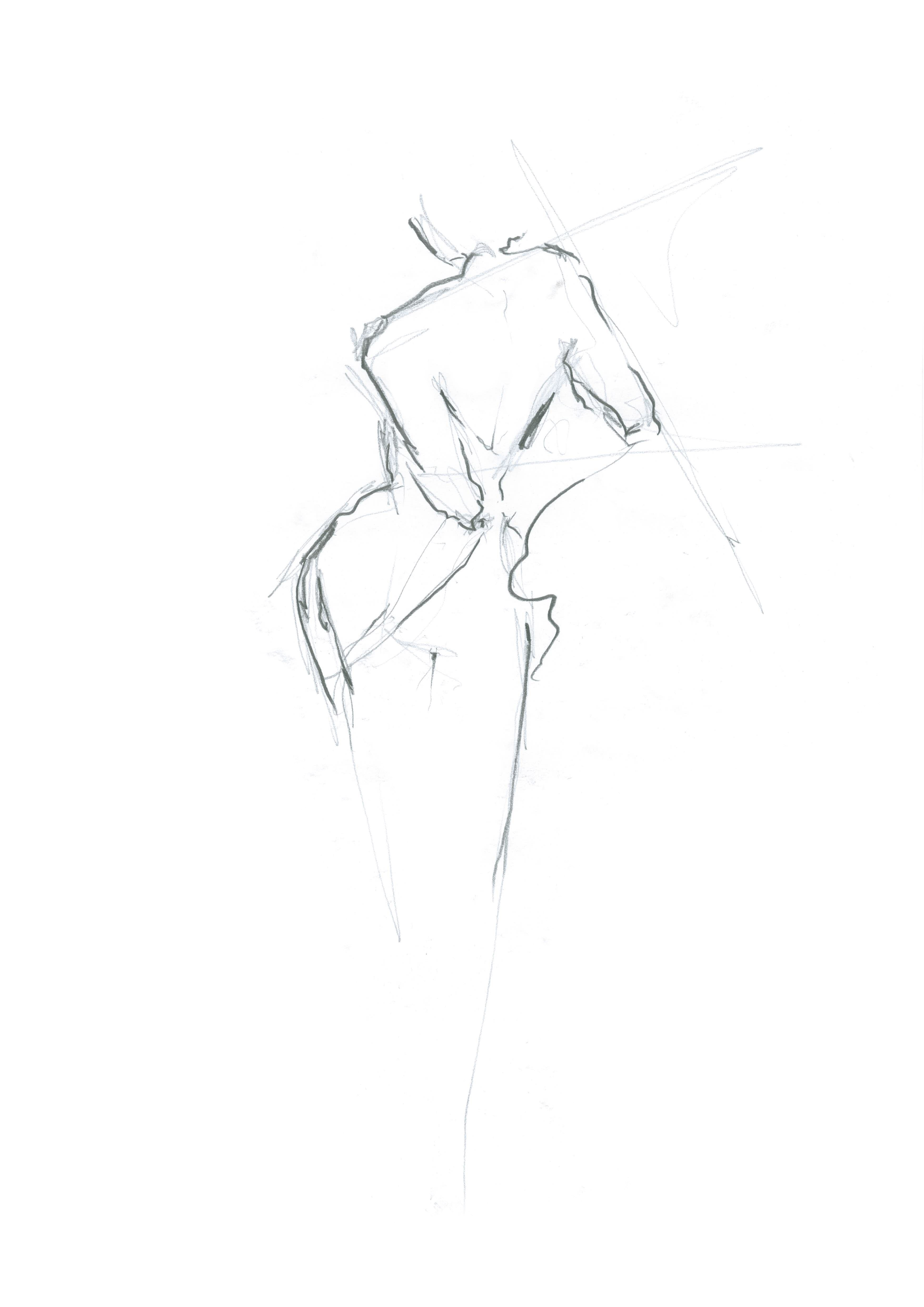 'moving figure in pencil'