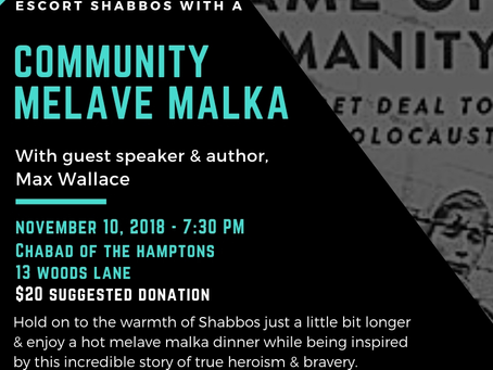"""Community Melaveh Malkah with Max Wallace, Author of """"In The Name of Humanity"""""""