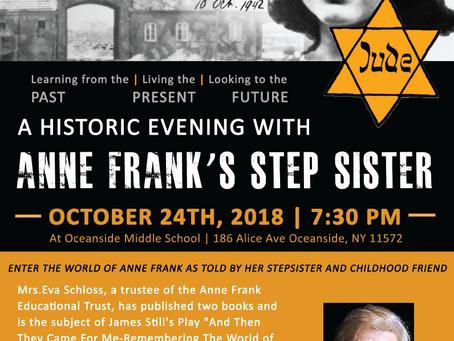 Eva Schloss, Anne Frank's Stepsister and Holocaust Survivor, to Visit Oceanside