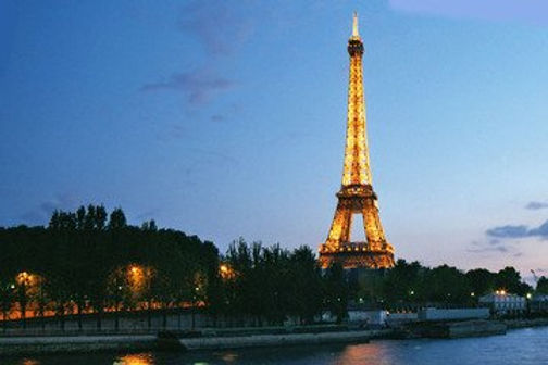 This is an image of the Eiffel Tower taken at dusk