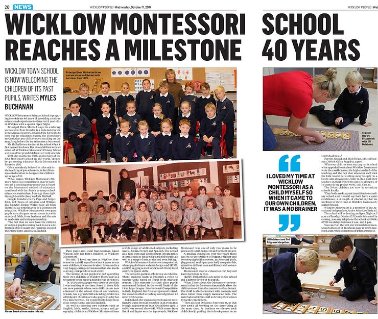 Wicklow Montessori Primary School celebrated its 40th year