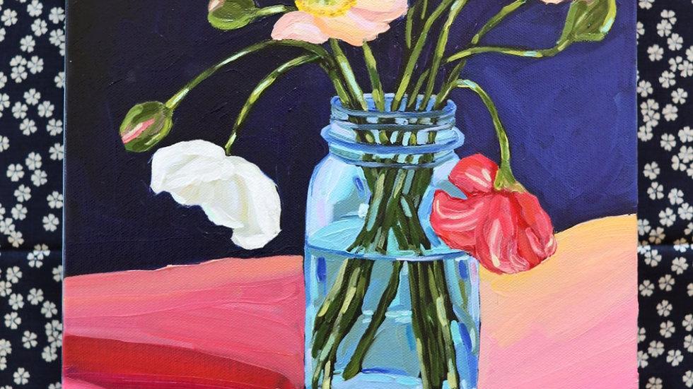 Poppies in a Mason Jar