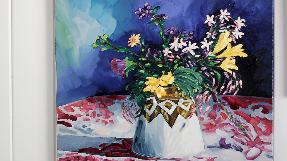 Connie Lichti vase and colourful blooms