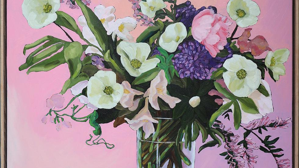 'Flowers Vasette' Stretched Canvas Print