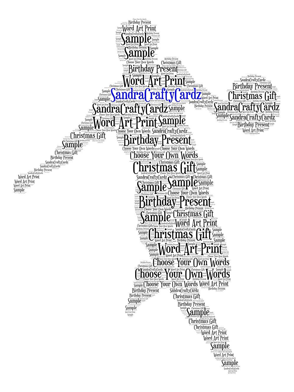 Personalised Footballer Football Word Art Print Birthday Greeting Card