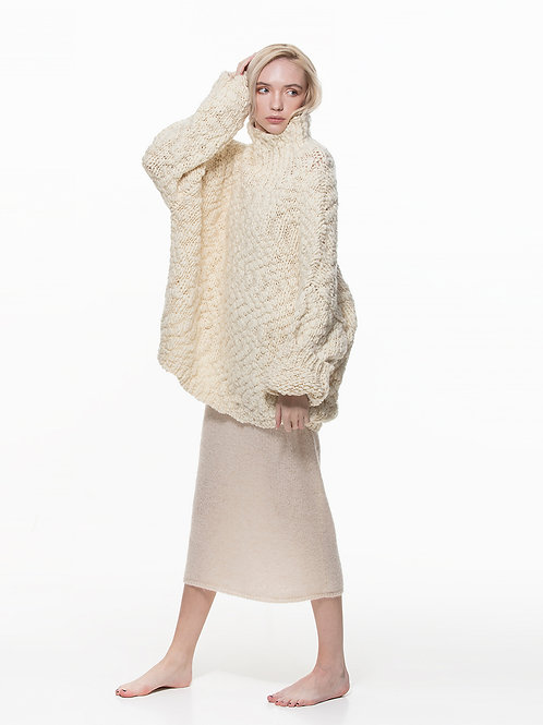 Ladies chunky oversize lambswool sweater
