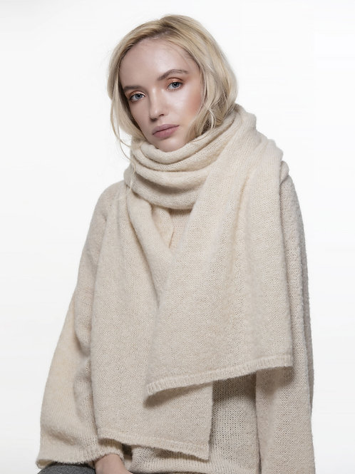 natural white long knitted alpaca silk blend scarf