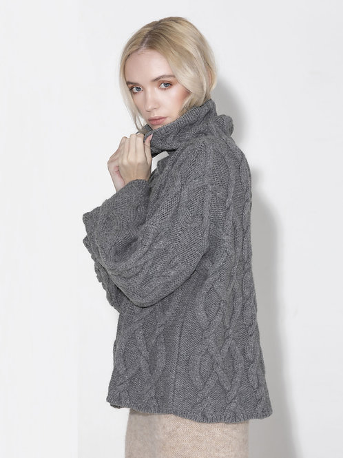 ladies grey high neck fisherman sweater