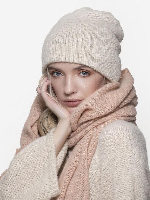 white reversible knitted alpaca silk blend beanie
