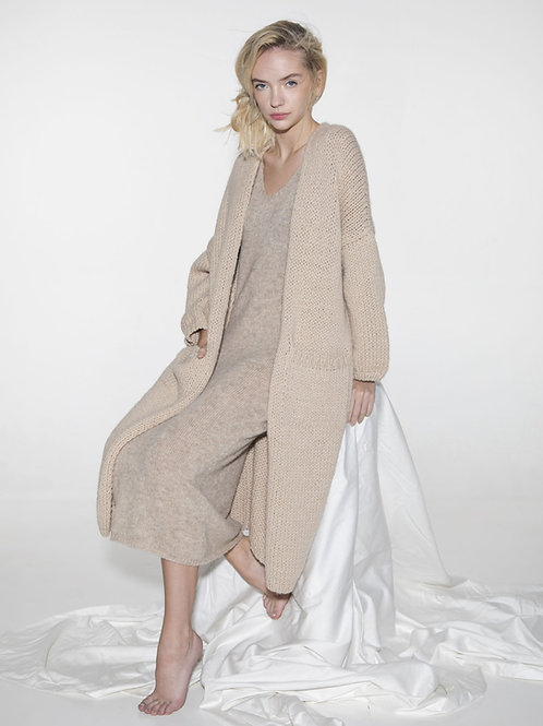 ladies long alpaca wool cardigan coat