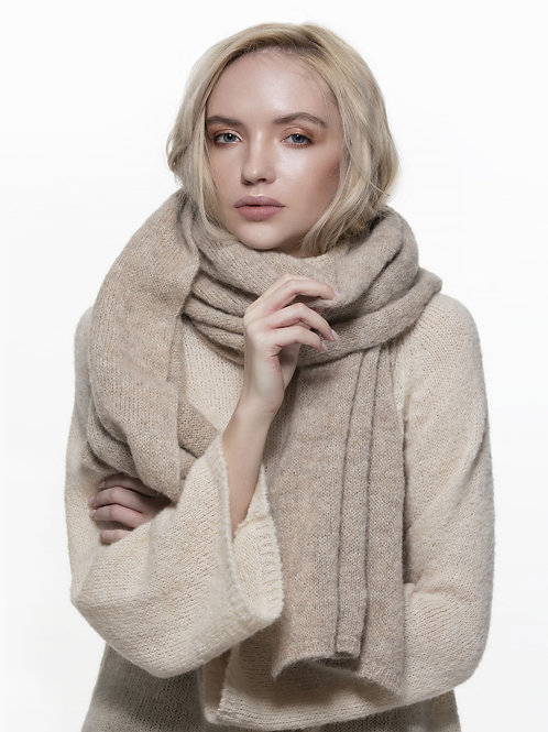 light beige long knitted alpaca silk blend scarf