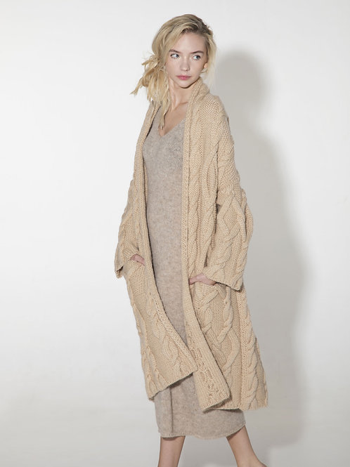 ladies beige cable knit cardigan coat in virgin wool