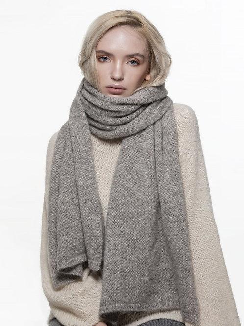 light grey long knitted alpaca silk blend scarf