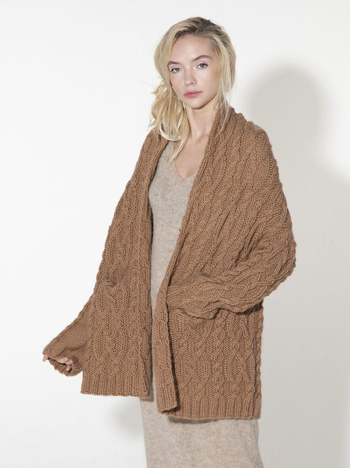 ladies chunky hand knitted cable knit cardigan shrug