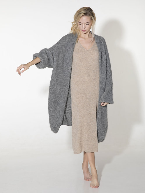 ladies long charcoal grey hand knitted alpaca merino wool cardigan