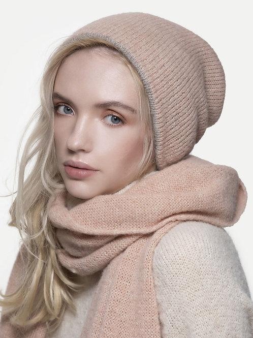 light pink reversible knitted alpaca silk blend beanie