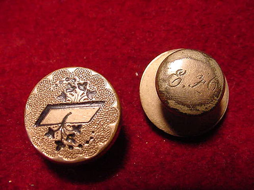 Engraved Gold Collar Button Set