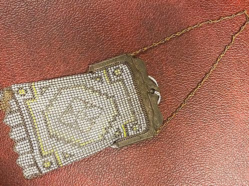 1920s era enameled brass mesh purse