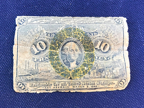 1863 US 10 cent fractional currency