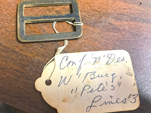 Brass buckle with digger tag