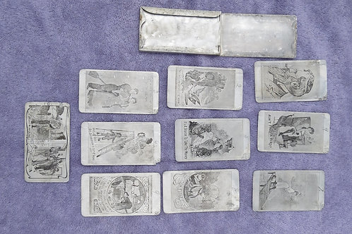 WWI era Risqué aluminum card set