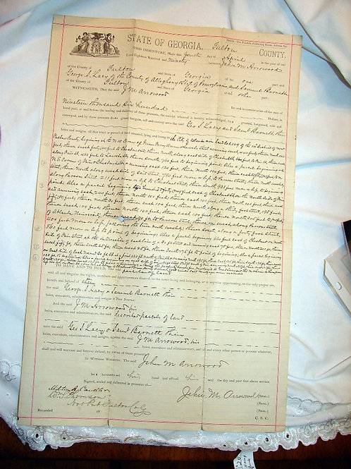 Fulton Co, GA Land Deed: April 4, 1890