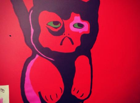 Sad Bad Mad tryptic Cats