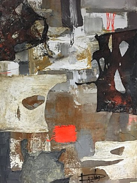 Laszlo Dus abstract collage; mixed media on canvas; signed and dated