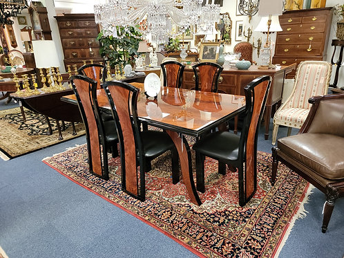 Lacquered Rosewood Italian Dining Suite Table 2 Leaves Pads 8 Chairs