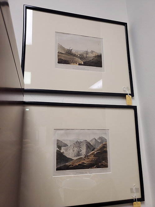 Hand colored lithographs pair