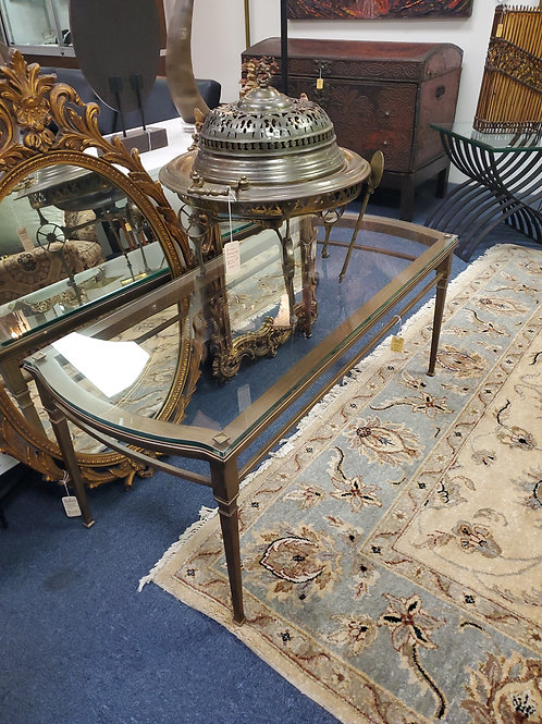 Polished Brass Metal and Glass Table