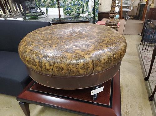 Tooled Leather Ottoman