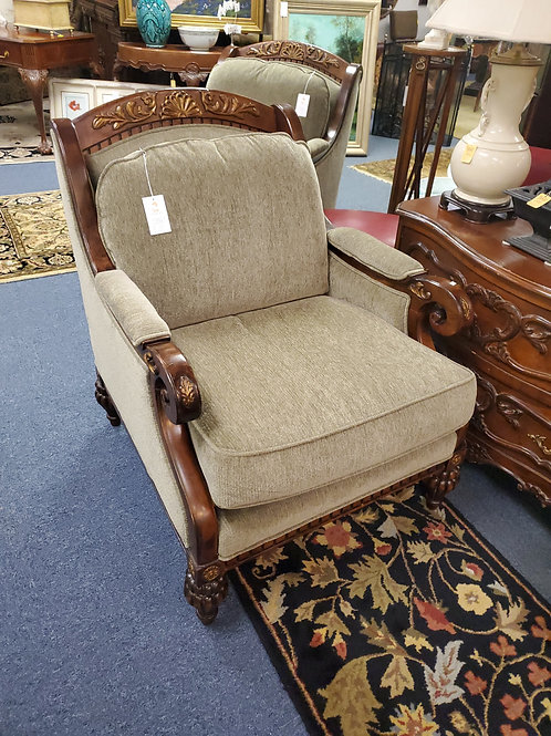 LT Designs For Century Furniture Wood Upholstered Lounge Chairs