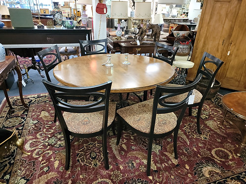 Arhaus 6 Dining Chairs and Round Table  (Wood Top Iron Base)
