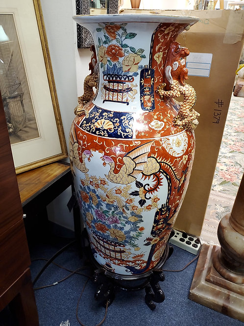 Large Vintage Asian Vase with Dragon Handles