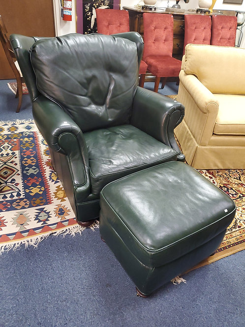 Craftsman Leather Chair by Stickley with ottoman