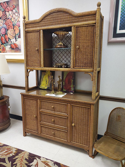 Wicker Henry Link Desk, Side Table & Hutch