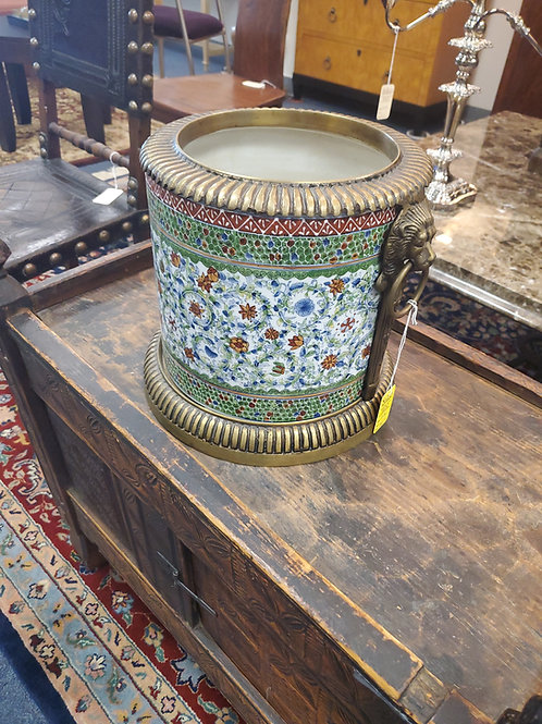 Porcelain Painted and Brass Persian Planter