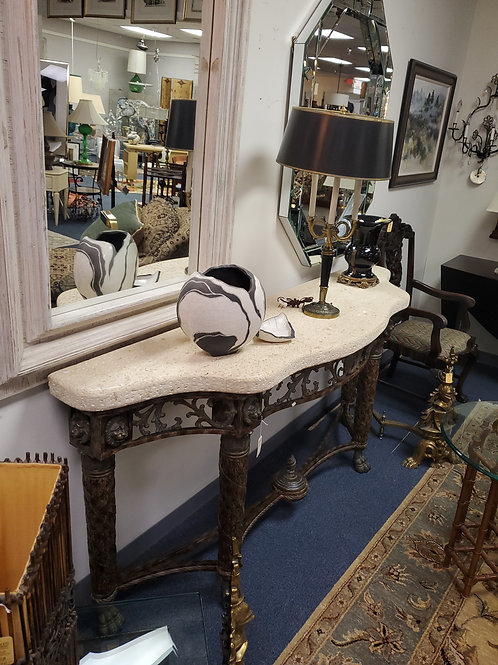 Iron and Stone Console Table