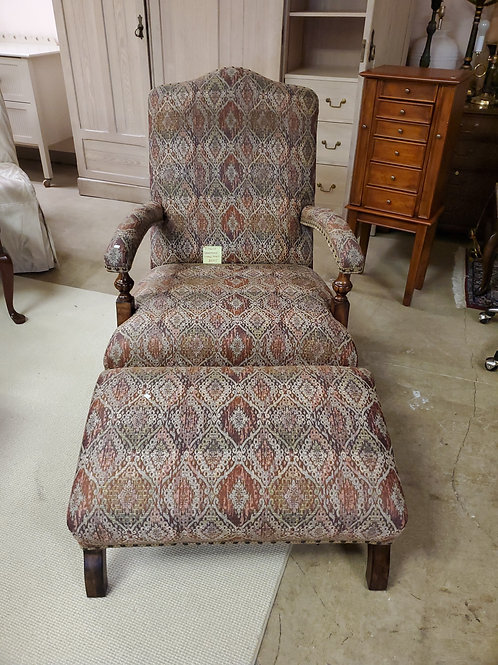 Biltmore Upholstered Library Chair with Foot Stool