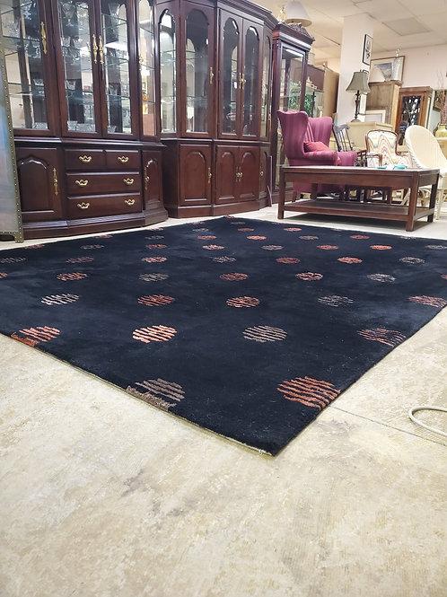 10 x 8 Ft  Black Wool Rug