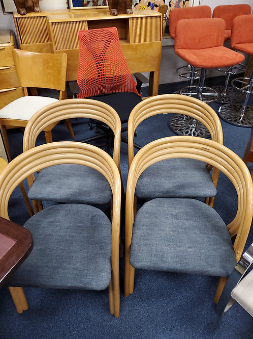 Rohe, Made In Holland 4-Mid Century Bent Wood Wood Game Chairs
