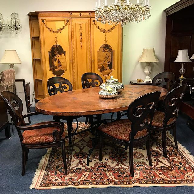 Arhaus Furniture Copper Top Oval Dining Set W 6 Chairs Spaces