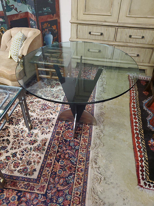 Glass Top With Metal Base