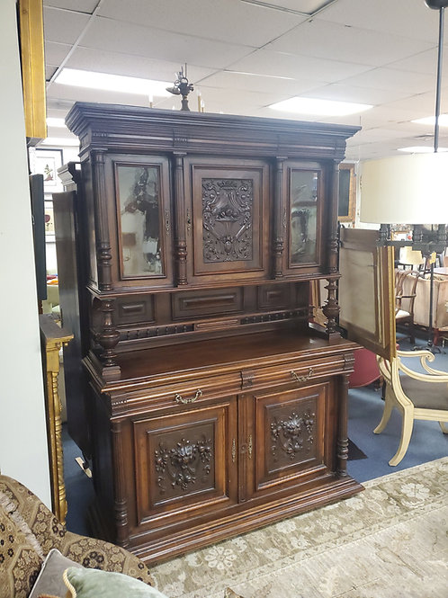 European Baroque Highly Carved Cabinet